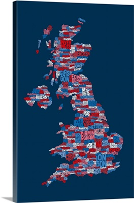 Great Britain UK City Text Map, Red White and Blue