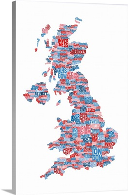 Great Britain UK City Text Map, White Background