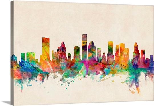 Houston Texas Skyline Wall Art, Canvas Prints, Framed Prints, Wall ...