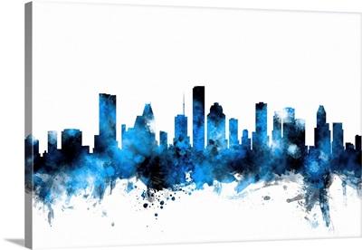 Houston Texas Skyline, Blue on White