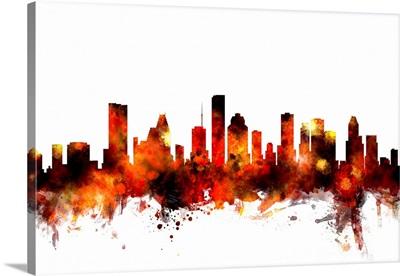 Houston Texas Skyline, Orange on White