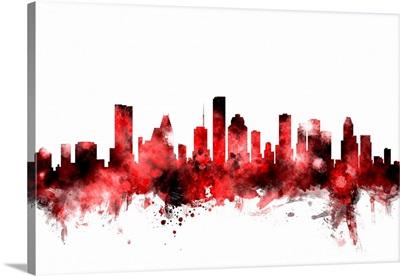 Houston Texas Skyline, Red on White