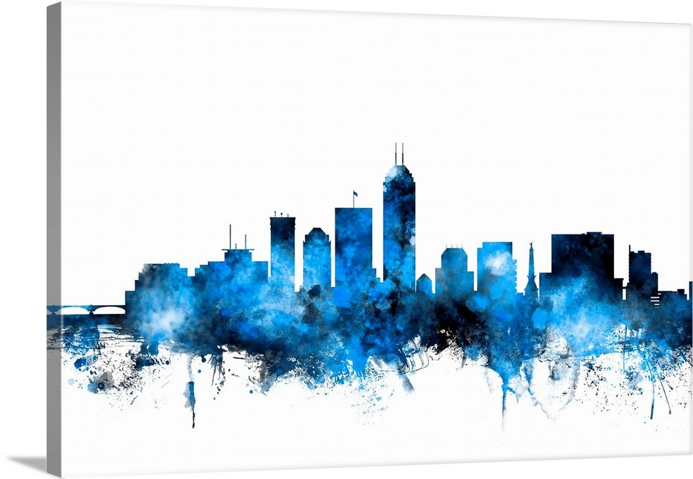 Indianapolis Indiana Skyline, Blue on White
