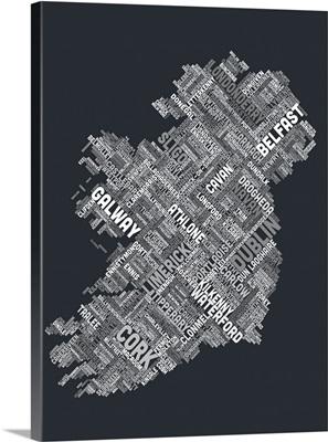 Ireland Eire City Text map