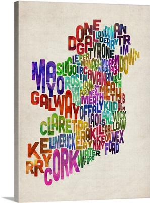 Ireland Eire County Text Map, Colorful