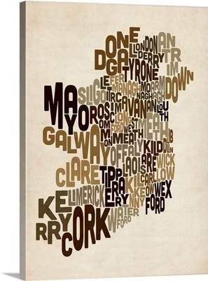 Ireland Eire County Text Map, Earth Tones