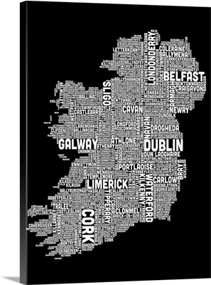 Irish Cities Text Map, Black and White