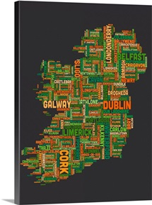 Irish Cities Text Map, Irish Colors on Grey