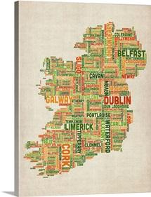 Irish Cities Text Map, Irish Colors on Parchment
