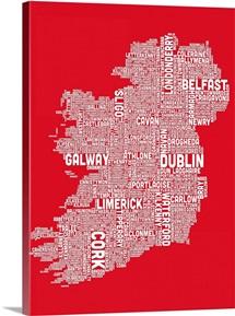 Irish Cities Text Map, Red