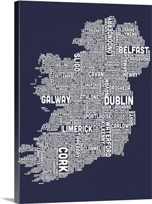 Irish Cities Text Map, Slate