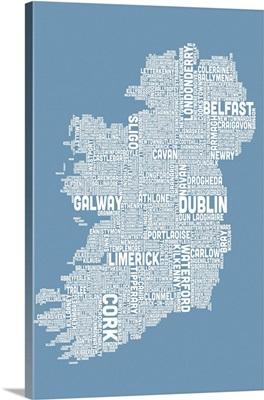 Irish Cities Text Map, Steel