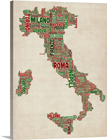 Italian Cities Text Map, Italian Colors on Parchment