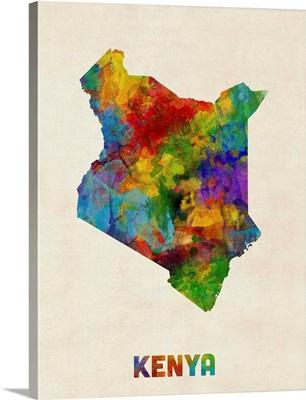Kenya Watercolor Map