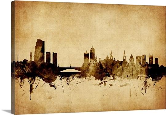 Leeds England Skyline, Vintage Style Wall Art, Canvas Prints, Framed ...