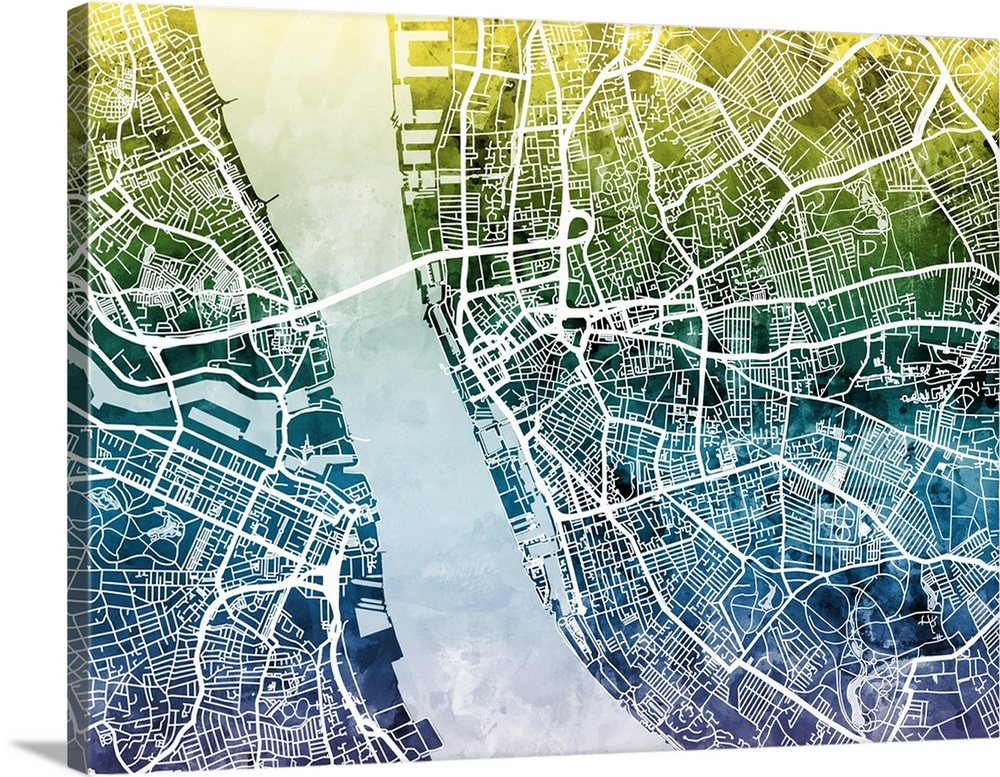 Liverpool England Street Map Wall Art, Canvas Prints ...