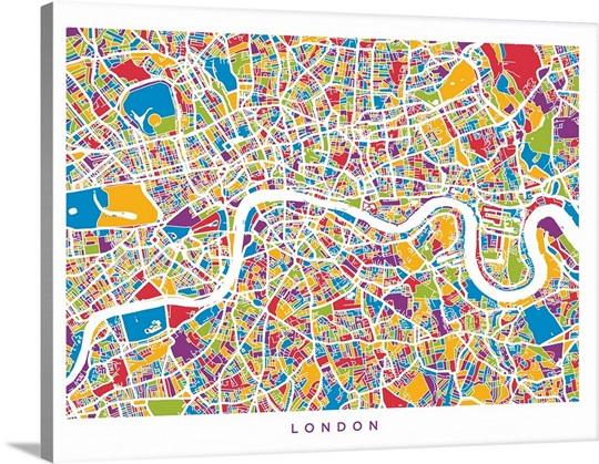 london england street map colorful
