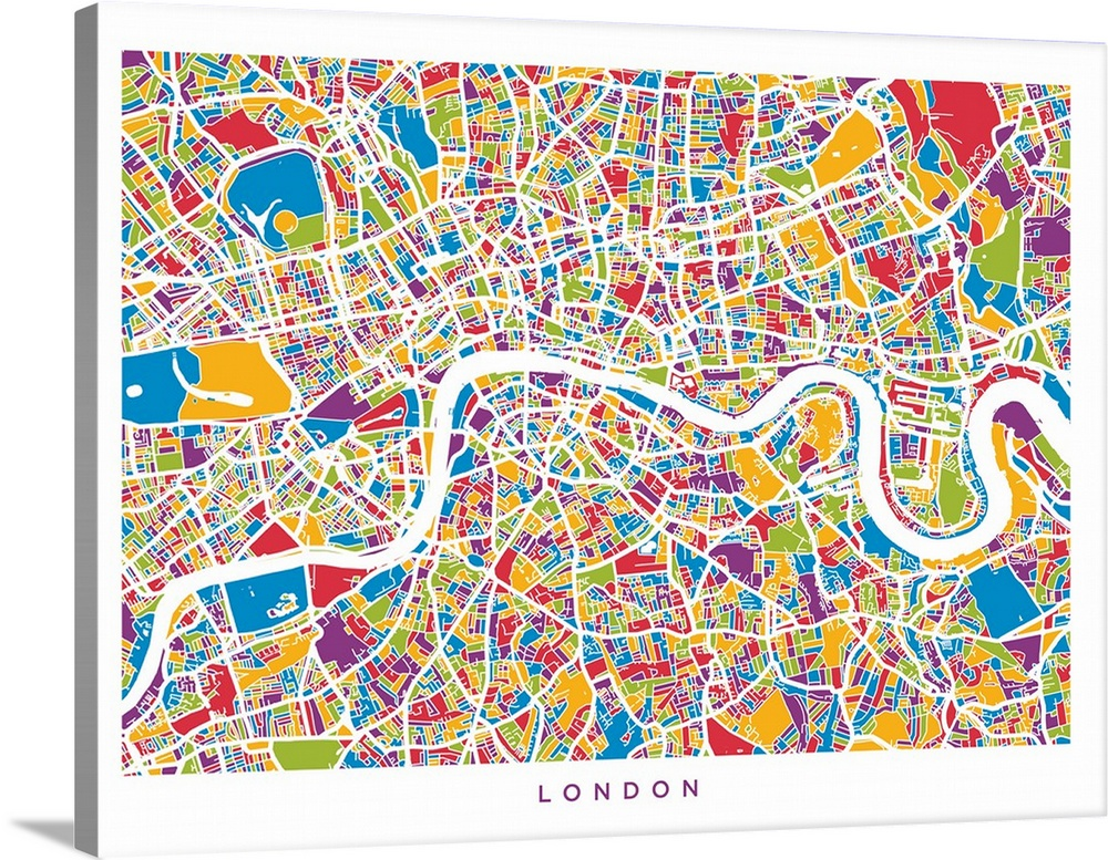 London England Street Map, Colorful