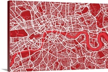 London Map Art Red