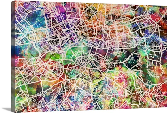 London Map Art Watercolor Wall Art, Canvas Prints, Framed Prints ...