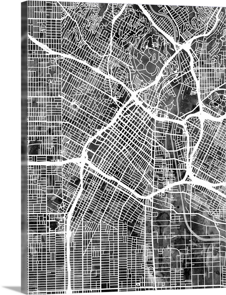 Los Angeles City Street Map, Black and White Wall Art, Canvas Prints on