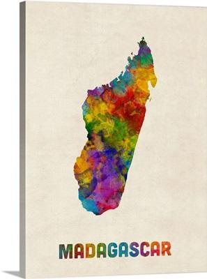 Madagascar Watercolor Map