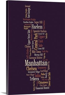 Manhattan New York Typographic Map