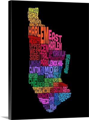 Manhattan New York Typography Text Map