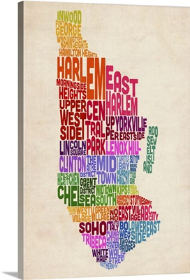 Manhattan New York Typography Text Map, Colorful