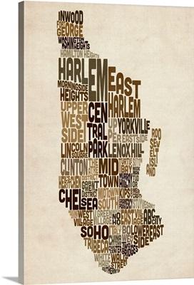 Manhattan New York Typography Text Map, Earth Tones