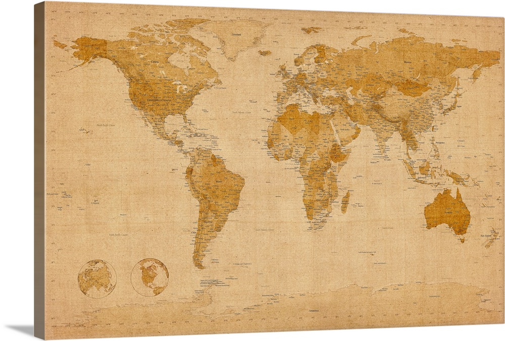 Map Of The World In Antique Style Wall Art Canvas Prints Framed Prints Wall Peels Great Big Canvas