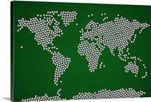 Map of the world made up from soccer balls