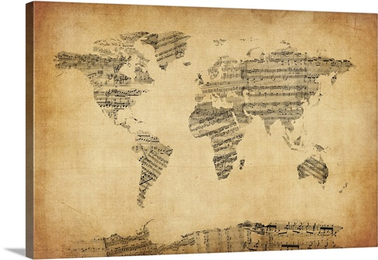 Sheet Music Wall Art map of the world map from old sheet music wall art, canvas prints