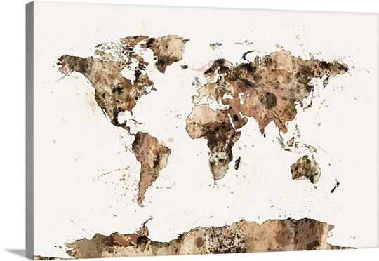 Map of the World Map Sepia Watercolor Wall Art, Canvas Prints ...