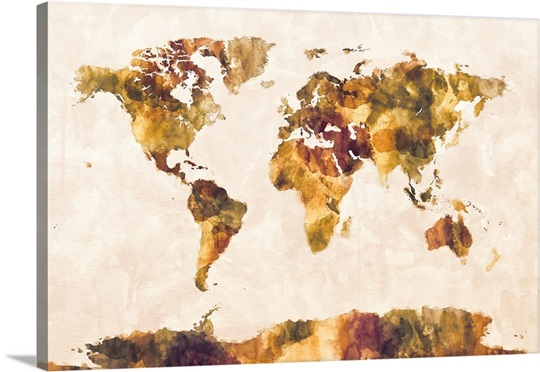 Map of the World Map Watercolor Painting Wall Art, Canvas Prints ...
