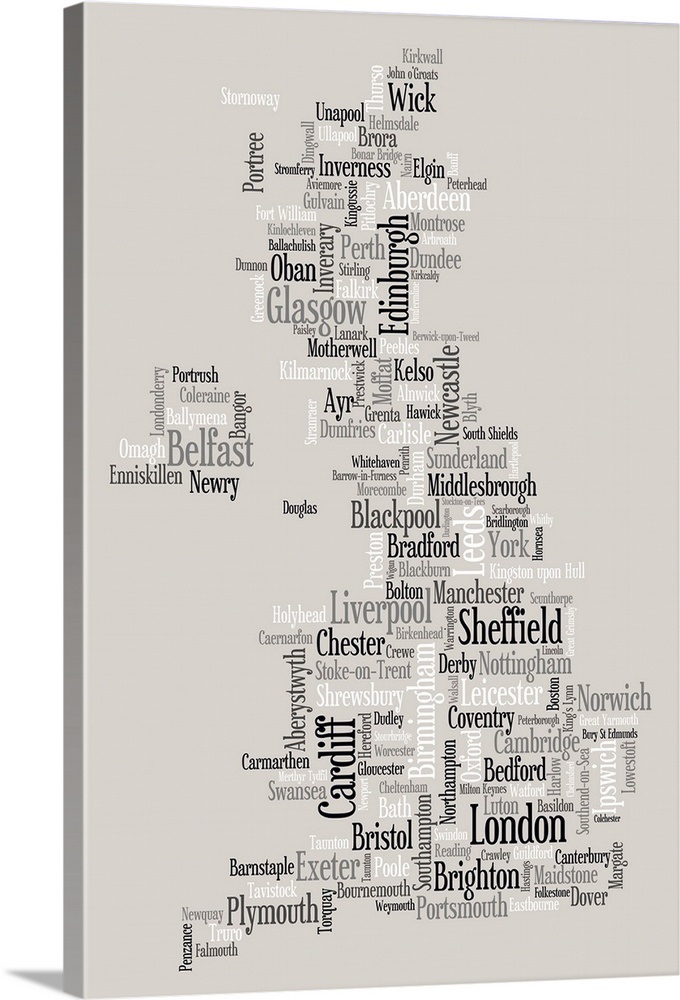 Map of United Kingdom made up of city names