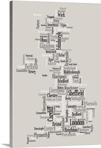 Map of United Kingdom made up of city names Wall Art