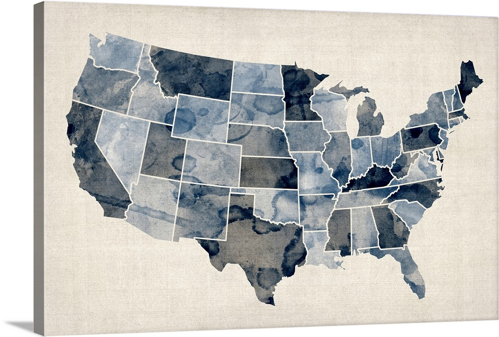 Us Map Canvas Wall Art Map of United States of America, watercolor in blue Wall Art