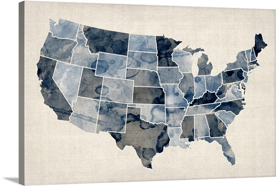 Map of United States of America, watercolor in blue Wall Art, Canvas ...