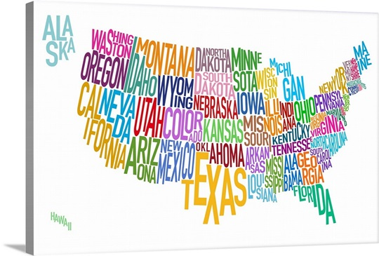 Map Of USA Showing State Names In Text Wall Art Canvas Prints - Usa map with state