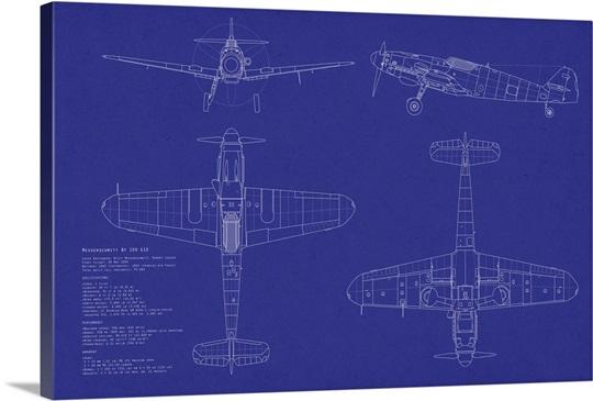 Blueprint Wall Art messerschmitt me109 blueprint wall art, canvas prints, framed