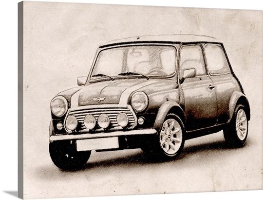 Mini Cooper Sketch Wall Art, Canvas Prints, Framed Prints