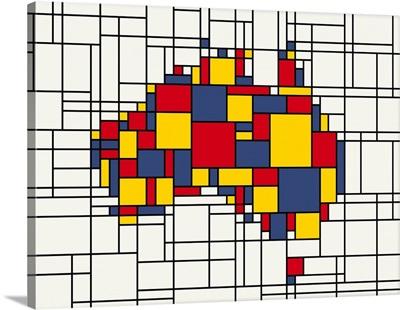 Mondrian inspired Australia Map