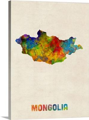 Mongolia Watercolor Map