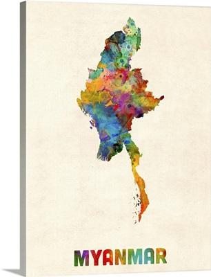 Myanmar Watercolor Map