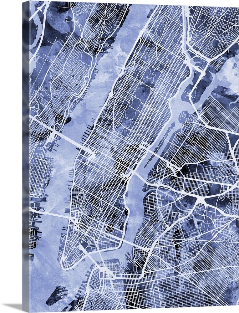 Street Map Of New York City.New York City Street Map Wall Art Canvas Prints Framed Prints
