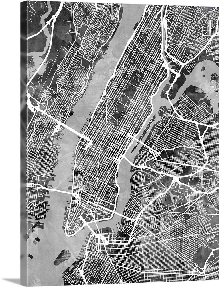 New York Map Black And White.New York City Street Map Black And White Wall Art Canvas Prints