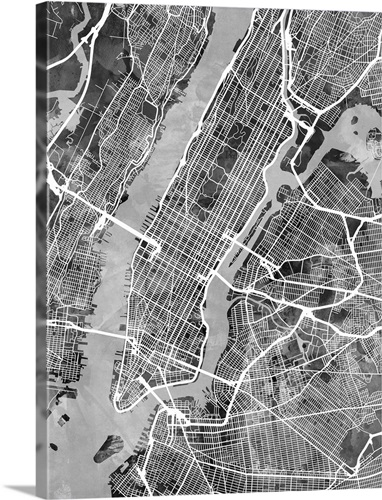 new york city street map black and white