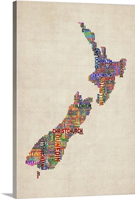 New Zealand Cities Text Map, Multicolor on Parchment
