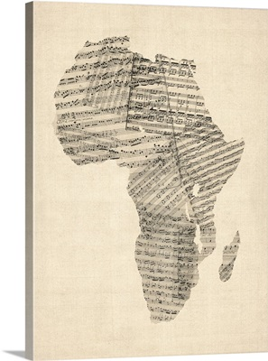 Old Sheet Music Map of Africa Map